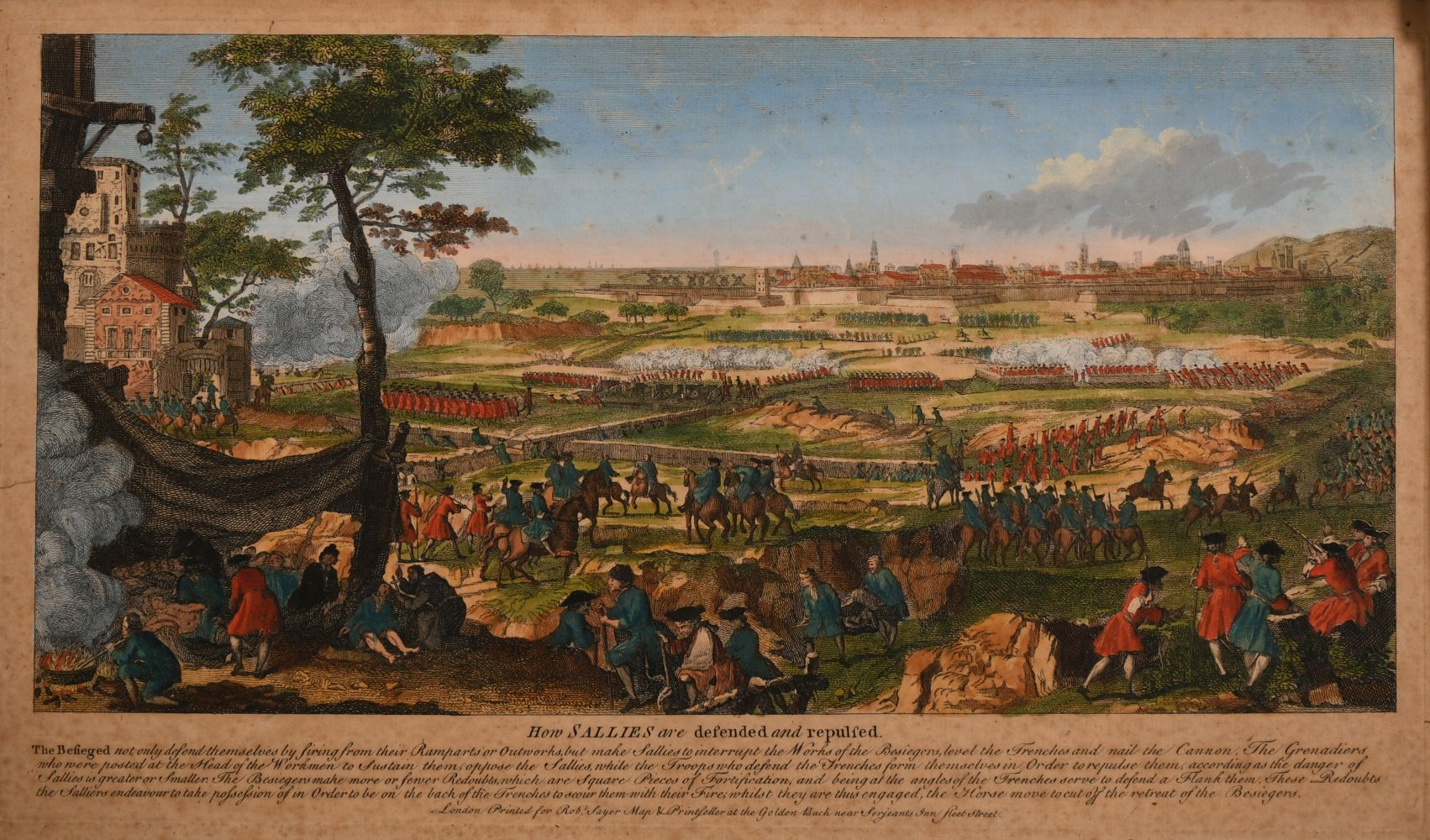 "A set of three 18th century hand-coloured prints of sieges, ""The Attack of Two Bastions"" and two"