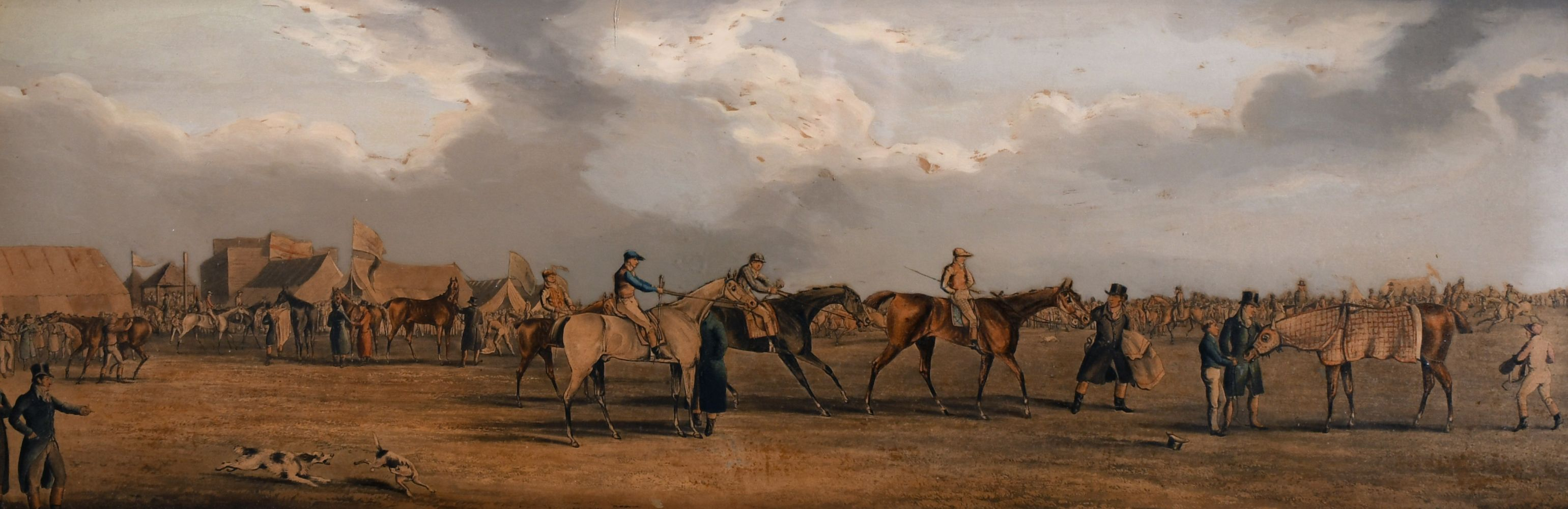 """A pair of 19th century coloured prints of horse meetings, each 8.5"""" x 26""""."""