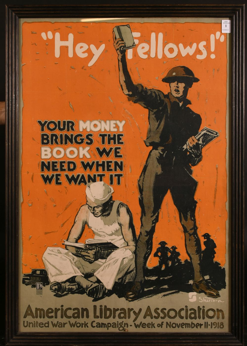 After John E. Sheridan (1880-1948) American, 'Hey Fellows, Your Money Brings the Book we Need When - Image 2 of 3