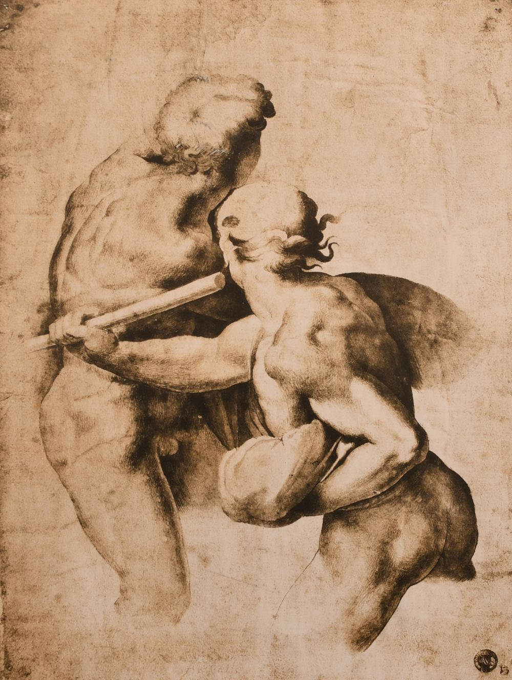 "A lithograph of an old master drawing, 12.5"" x 9""."
