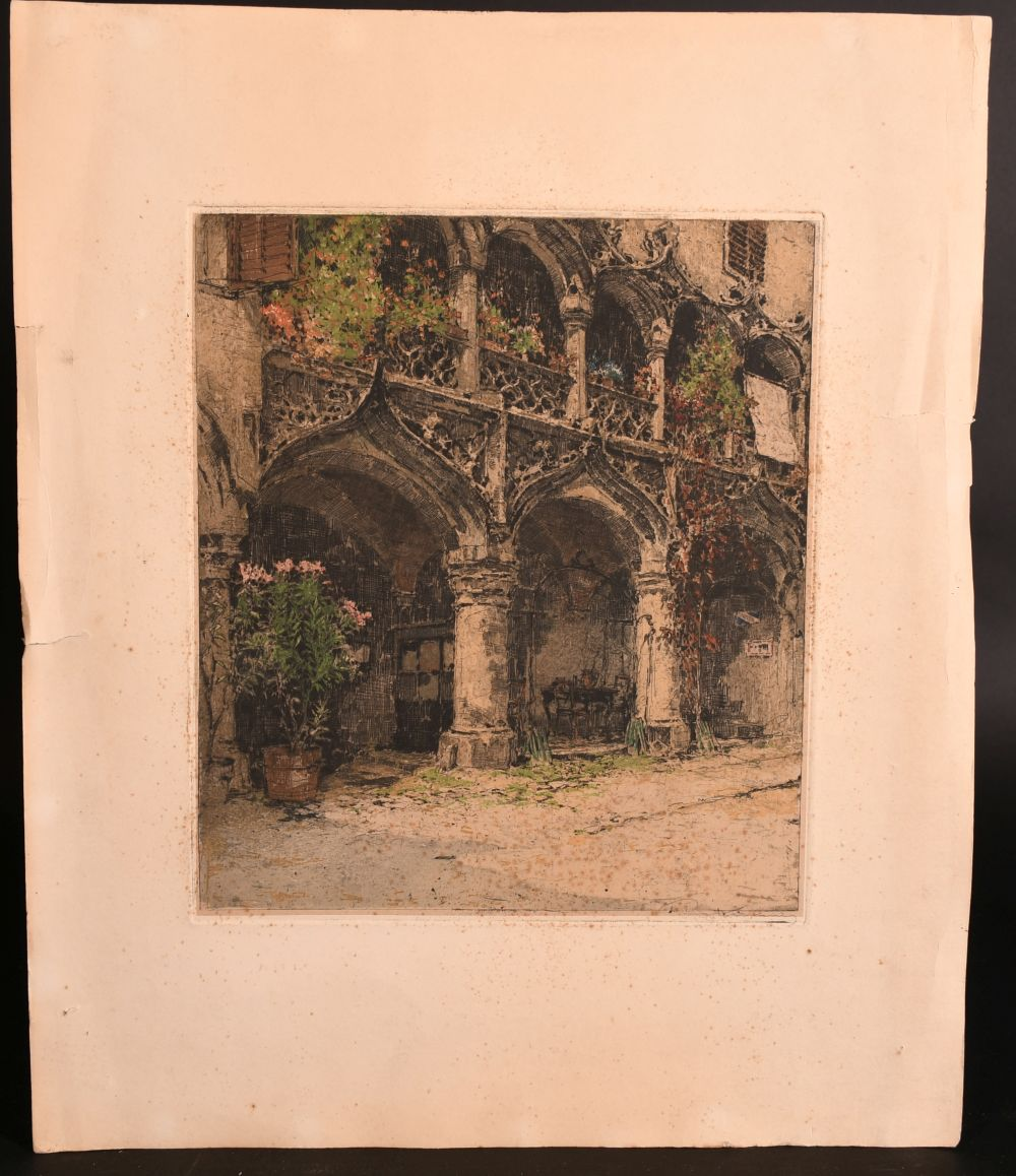 Luigi Kasimir (1888-1962) Austro-Hungarian, 'Kornmesserhaus in Bruck', colour etching signed in - Image 2 of 7