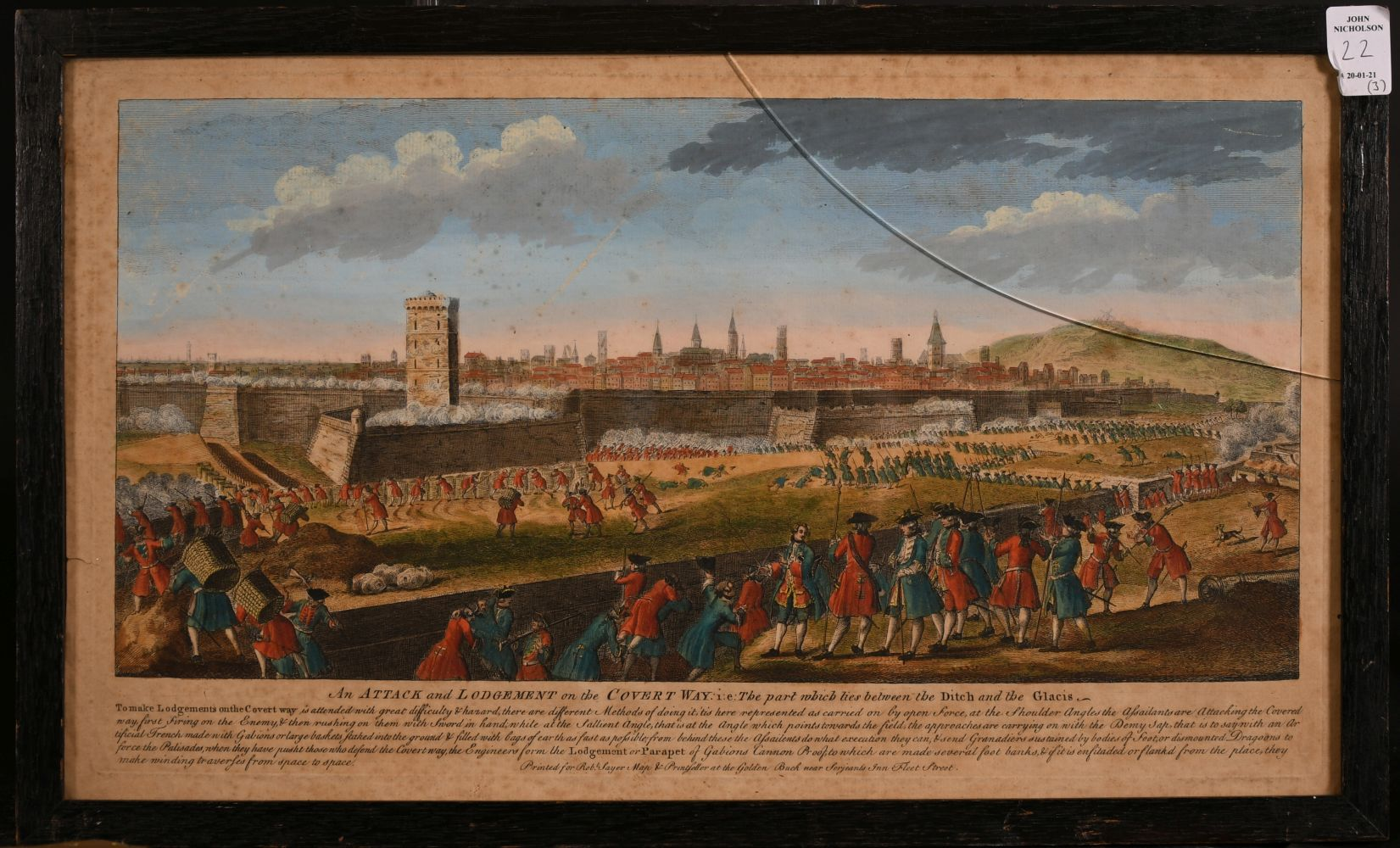 "A set of three 18th century hand-coloured prints of sieges, ""The Attack of Two Bastions"" and two - Image 4 of 4"