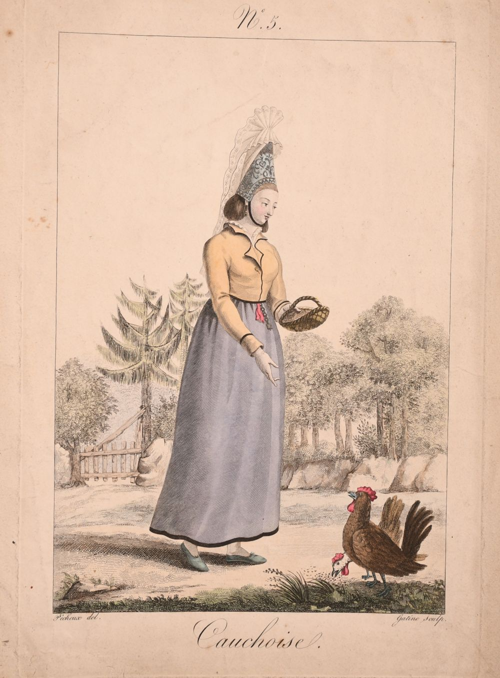 A collection of seven 19th century Swiss hand coloured prints of regional costumes, two of them - Image 5 of 9