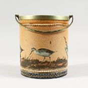 A GOOD DOULTON LAMBETH STONEWARE BISCUIT BARREL by FLORENCE E. BARLOW painted with birds. Maker F.