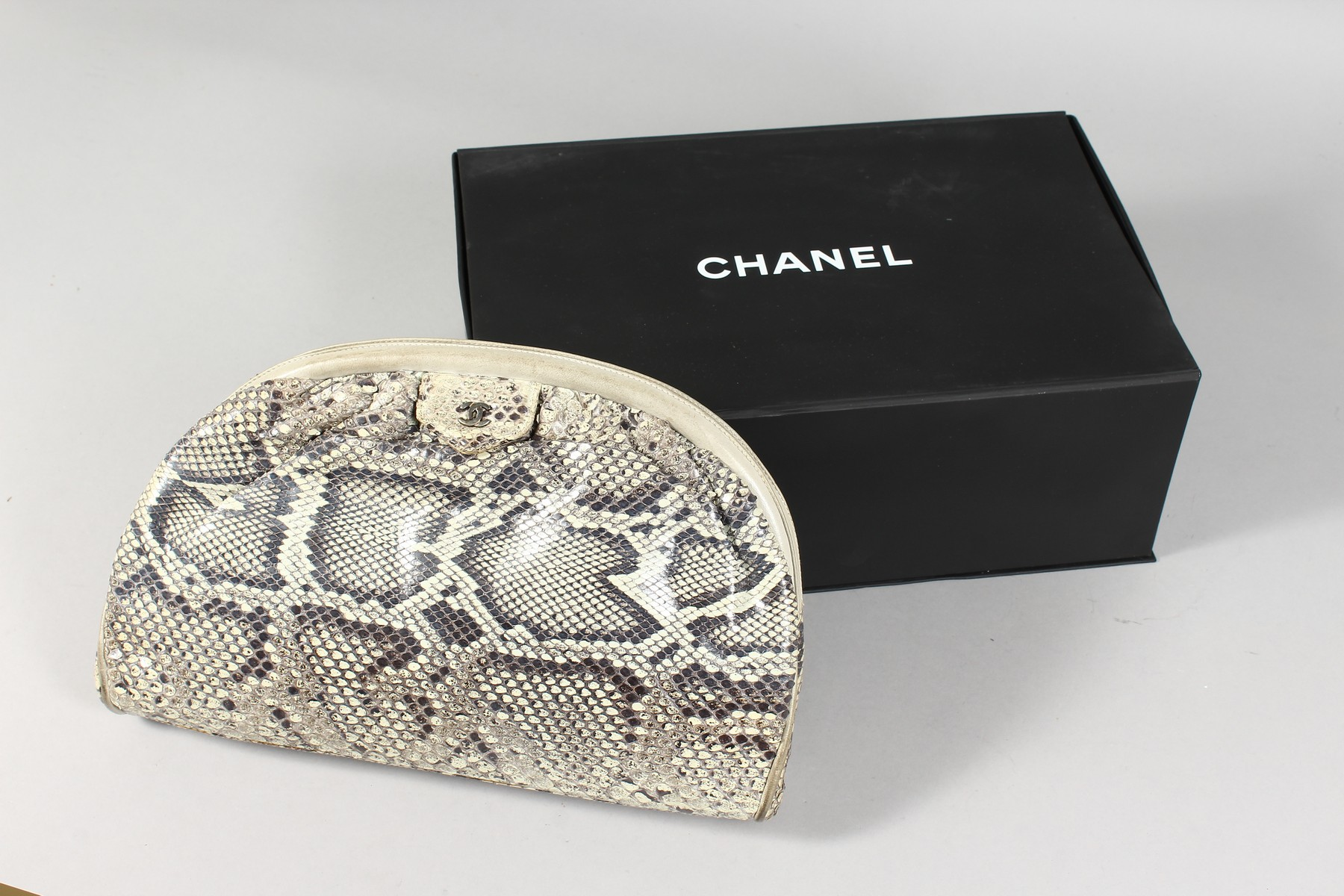 A CHANEL SNAKESKIN BAG with leather interior. Made in Italy. 11ins long. - Image 6 of 9