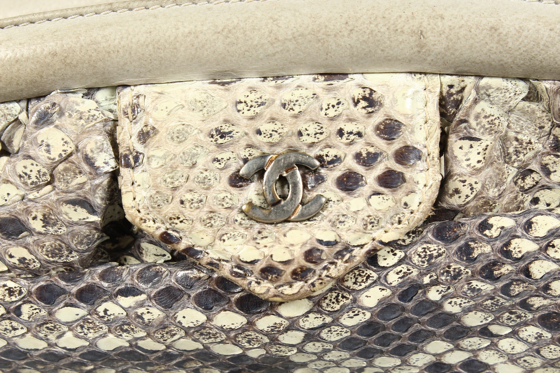 A CHANEL SNAKESKIN BAG with leather interior. Made in Italy. 11ins long. - Image 2 of 9