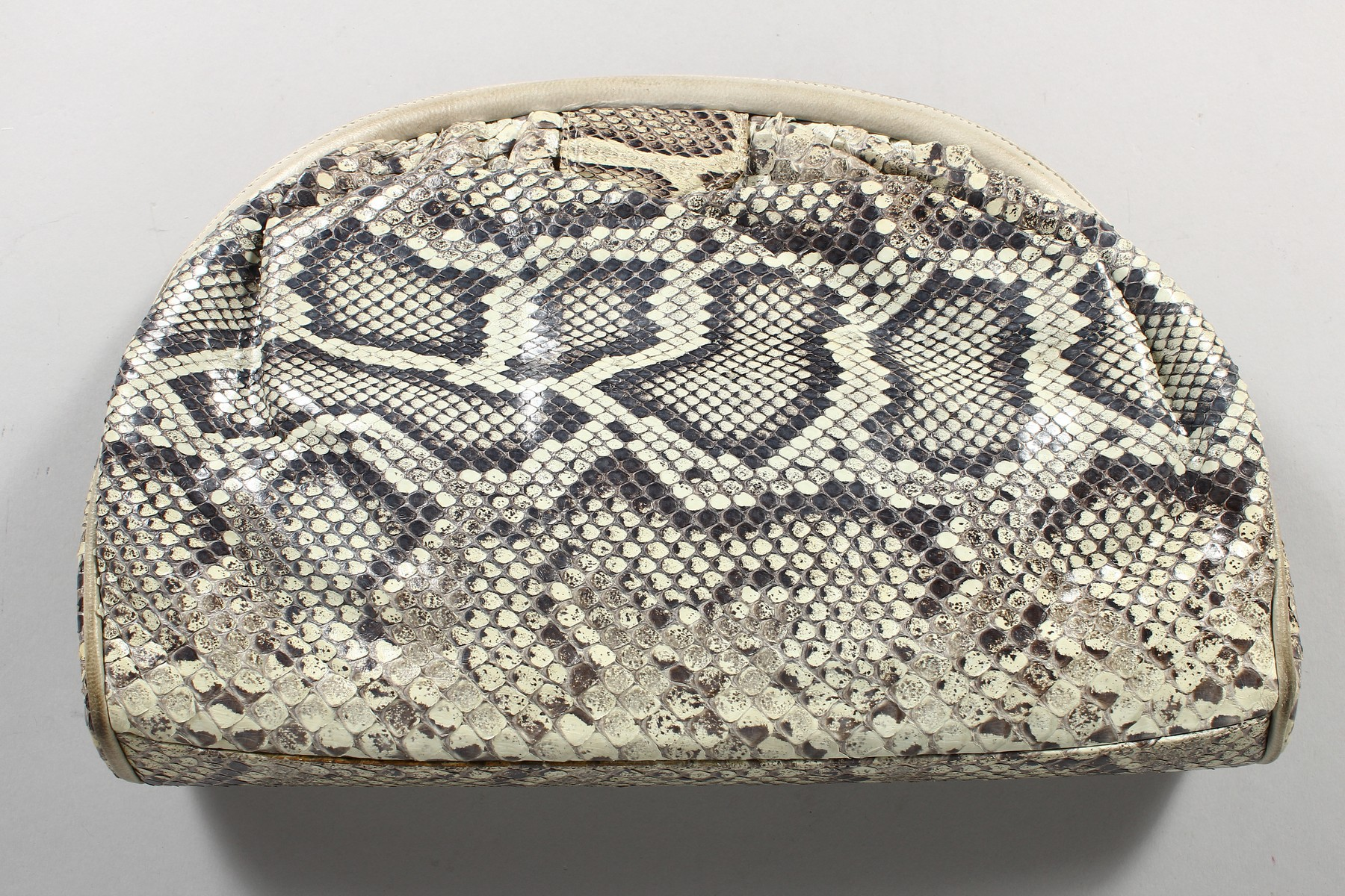 A CHANEL SNAKESKIN BAG with leather interior. Made in Italy. 11ins long. - Image 8 of 9
