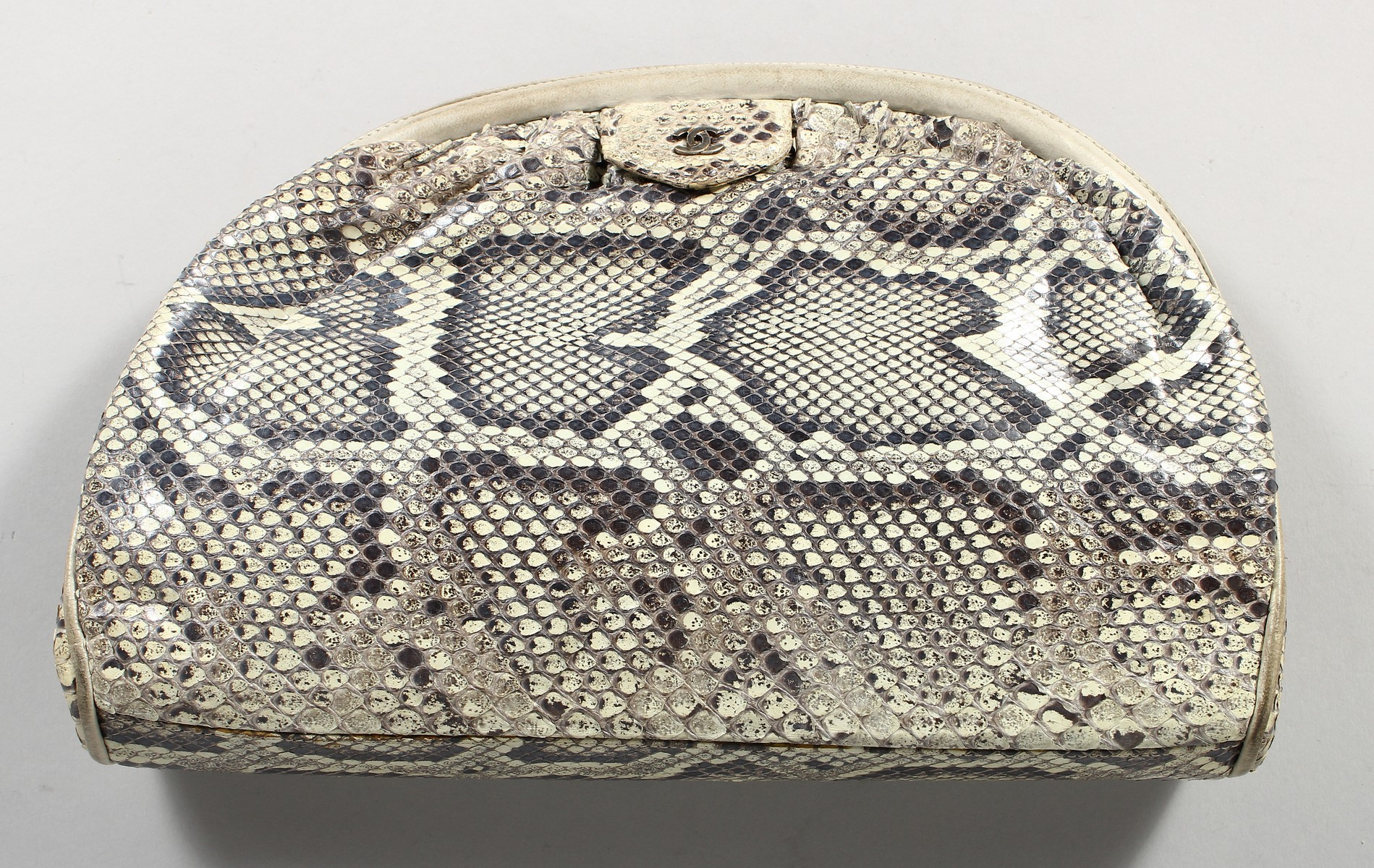 A CHANEL SNAKESKIN BAG with leather interior. Made in Italy. 11ins long. - Image 7 of 9