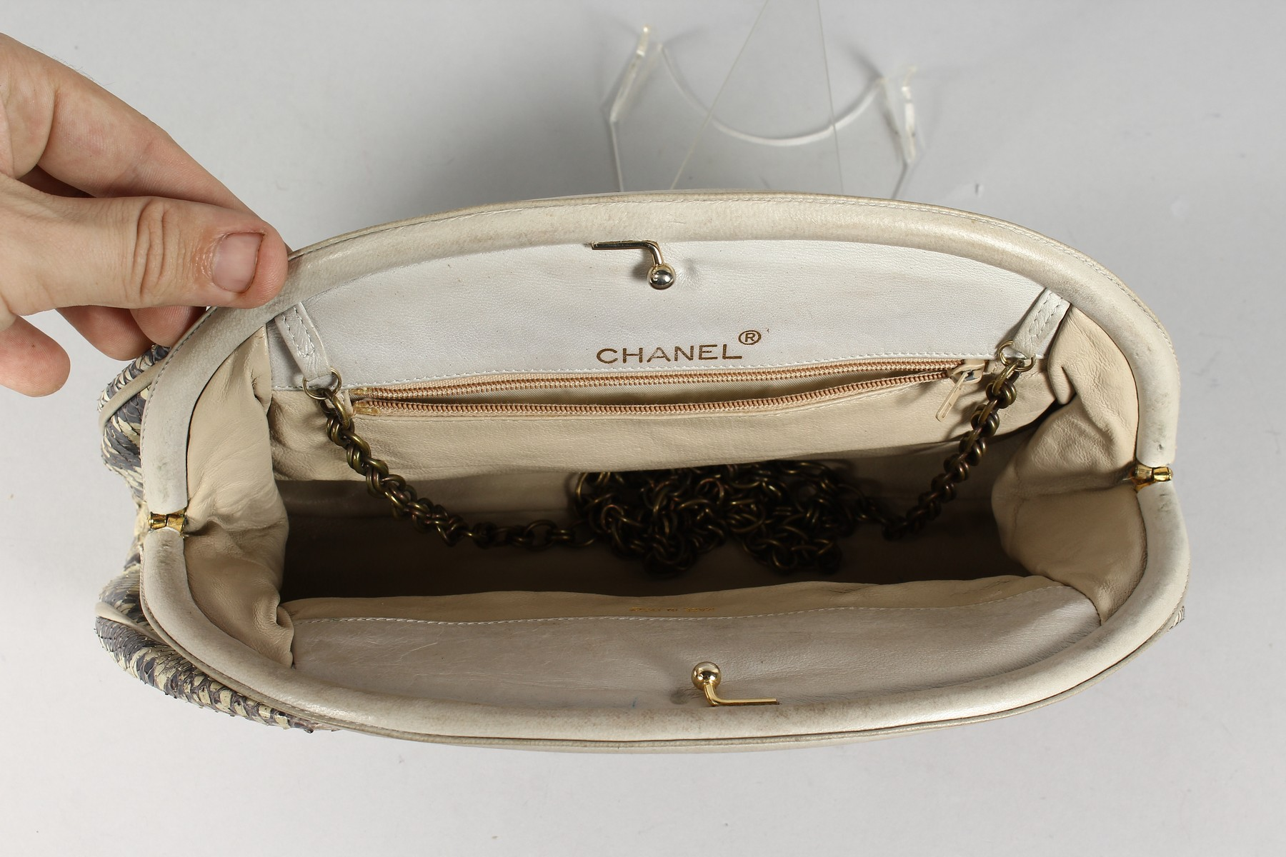 A CHANEL SNAKESKIN BAG with leather interior. Made in Italy. 11ins long. - Image 5 of 9