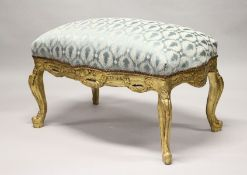 A GOOD GILT BLUE PADDED TOP WINDOW SEAT. 40ins long.