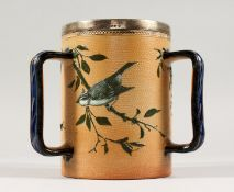 A GOOD DOULTON LAMBETH STONEWARE TYG by FLORENCE E. BARLOW decorated with birds. Maker F.E.B.