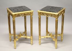 A GOOD PAIR OF GOLD SQUARE TOP TABLES with marble tops. 28ins high.