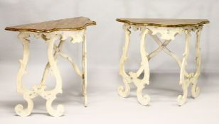 A PAIR OF GRAHAM CARR ITALIAN DESIGN PINE CONSOLE TABLES, 20TH CENTURY, with faux marble shaped