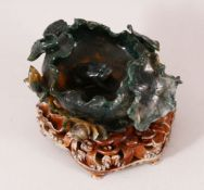 A GOOD CHINESE DARK GREEN JADE LOTUS BRUSH WASHER, together with a good quality wire inlaid carved