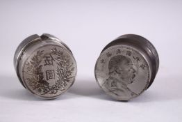 TWO GOOD CHINESE COIN / CURRENCY MOULDS OR PRESS, one with a figure and calligraphy, the other