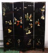 A GOOD 19TH / 20TH CENTURY CHINESE FOUR FOLD HARDSTONE ROOM DIVIDING SCREEN, inlaid with carved hard