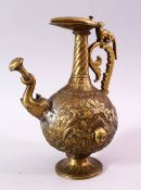 A 19TH CENTURY INDIAN MOULDED BRASS JUG, with moulded elephant head spout and dog handle, the body