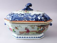 A 18TH / 19TH CENTURY CHINESE BLUE & WHITE FAMILLE ROSE PORCELAIN TUREEN AND COVER, decorated with