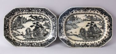 A PAIR OF CHINESE 19TH CENTURY WILLOW PATTERN SERVING DISHES, 33cm wide.
