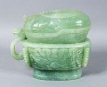 A LARGE 19TH / 20TH CENTURY CARVED JADE POT & COVER, carved in the form of a sauce boat, with a