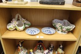 A small pair of Meissen blue and white plates with pierced borders, and two decorative floral