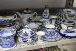 A quantity of blue and white china.