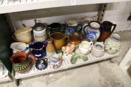 Decorative jugs and other china.