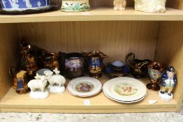 Nursery plates lustre ware and other items.