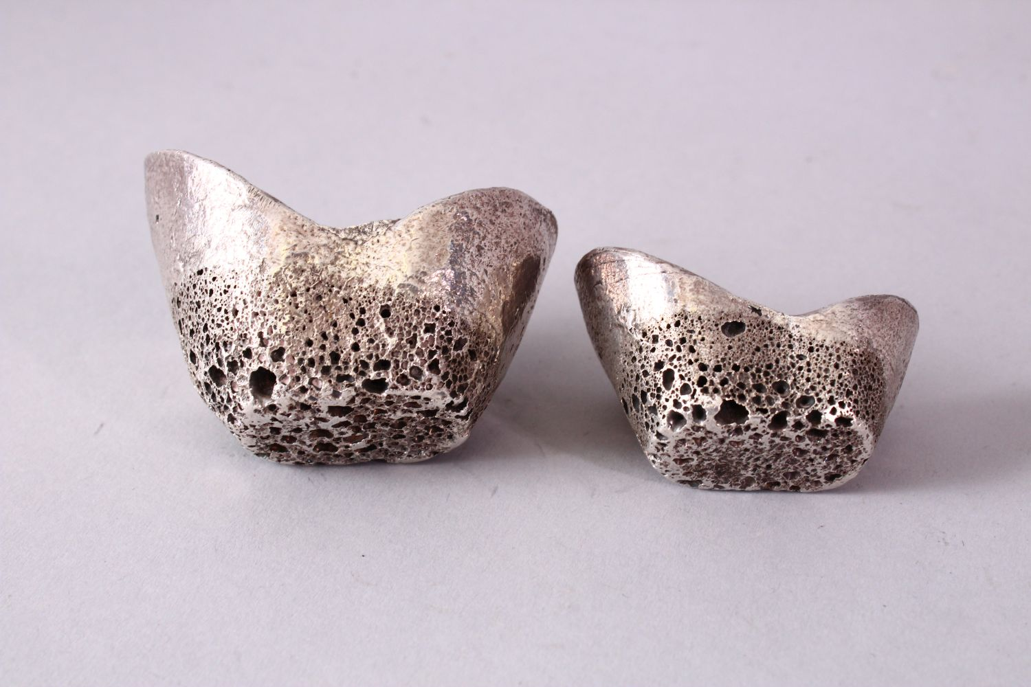 TWO PIECES OF CHINESE WHITE METAL POSSIBLY SILVER SHOE CURRENCY, 7cm and 6.5cm. - Image 3 of 3