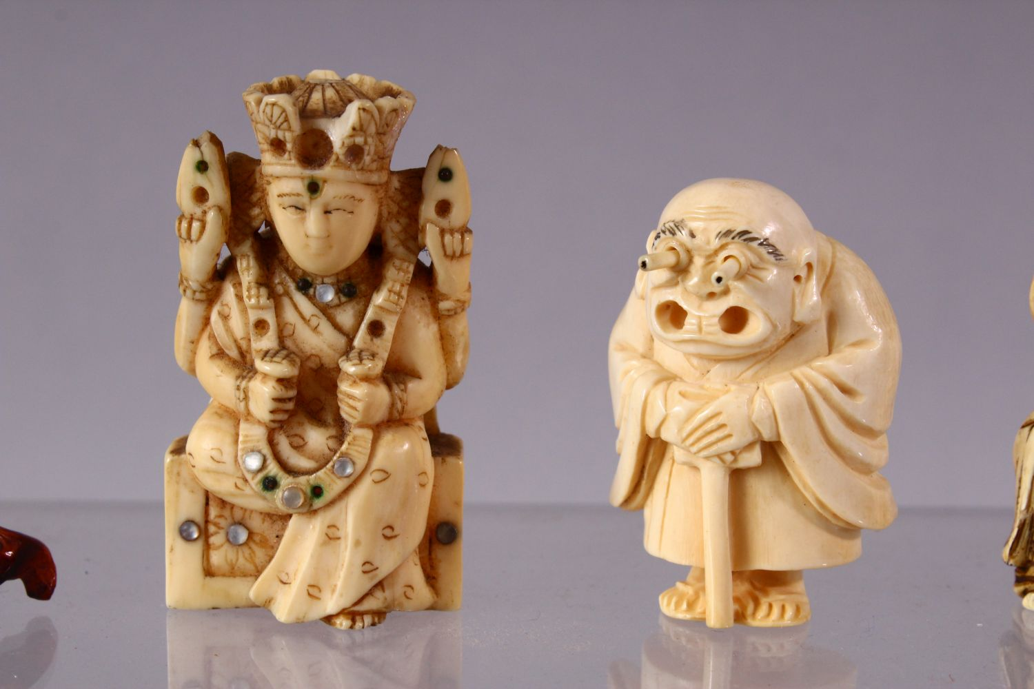A LOT OF SIX JAPANESE MEIJI PERIOD CARVED IVORY NETSUKE, one of a seated and inlaid goddess, 6cm, - Image 3 of 8