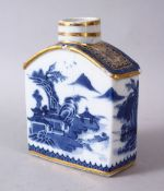 A CHINESE 18TH CENTURY QIANLONG BLUE & WHITE PORCELAIN CADDY, with scenes of a landscape with gilt