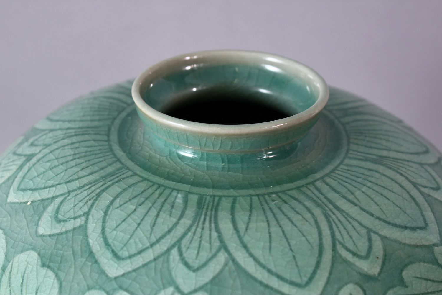 A LARGE KOREAN CELEDON VASE, the body with srolling foliage, signed, 38cm high. - Image 5 of 7