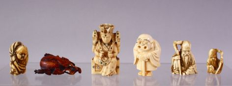 A LOT OF SIX JAPANESE MEIJI PERIOD CARVED IVORY NETSUKE, one of a seated and inlaid goddess, 6cm,