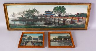 A SET OF THREE CHINESE REPUBLIC STYLE TAPESTRY PICTURES, each depicting a waterside landscape scene,