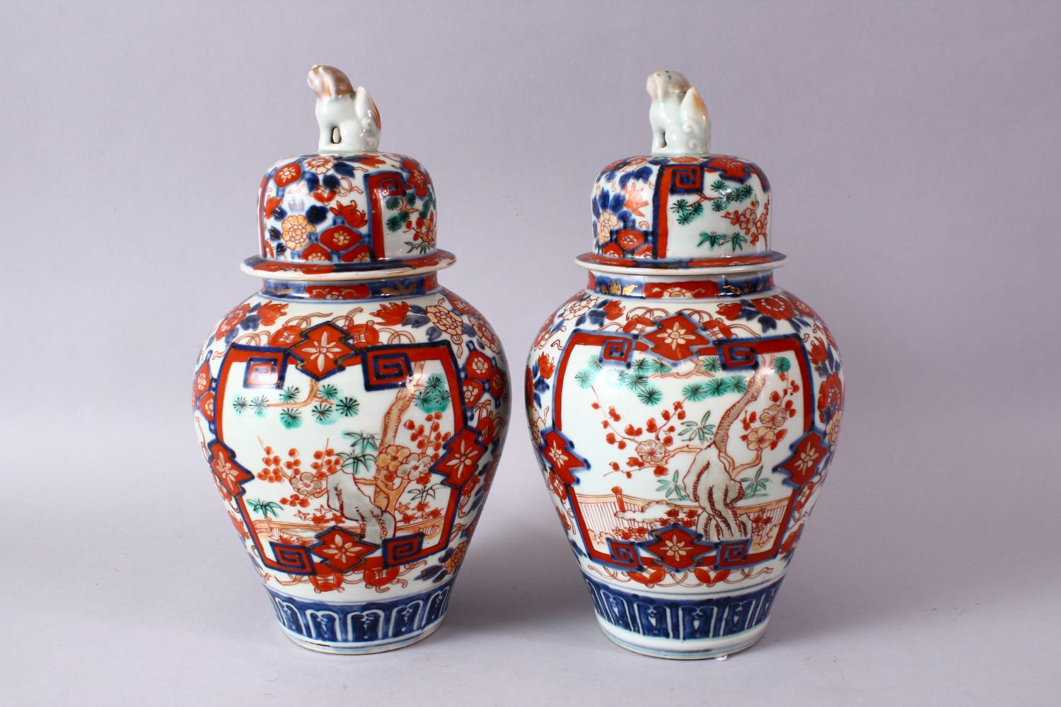 A PAIR OF MEIJI PERIOD IMARI VASES AND COVERS, with kylin finials, overall 30cm high. - Image 6 of 10