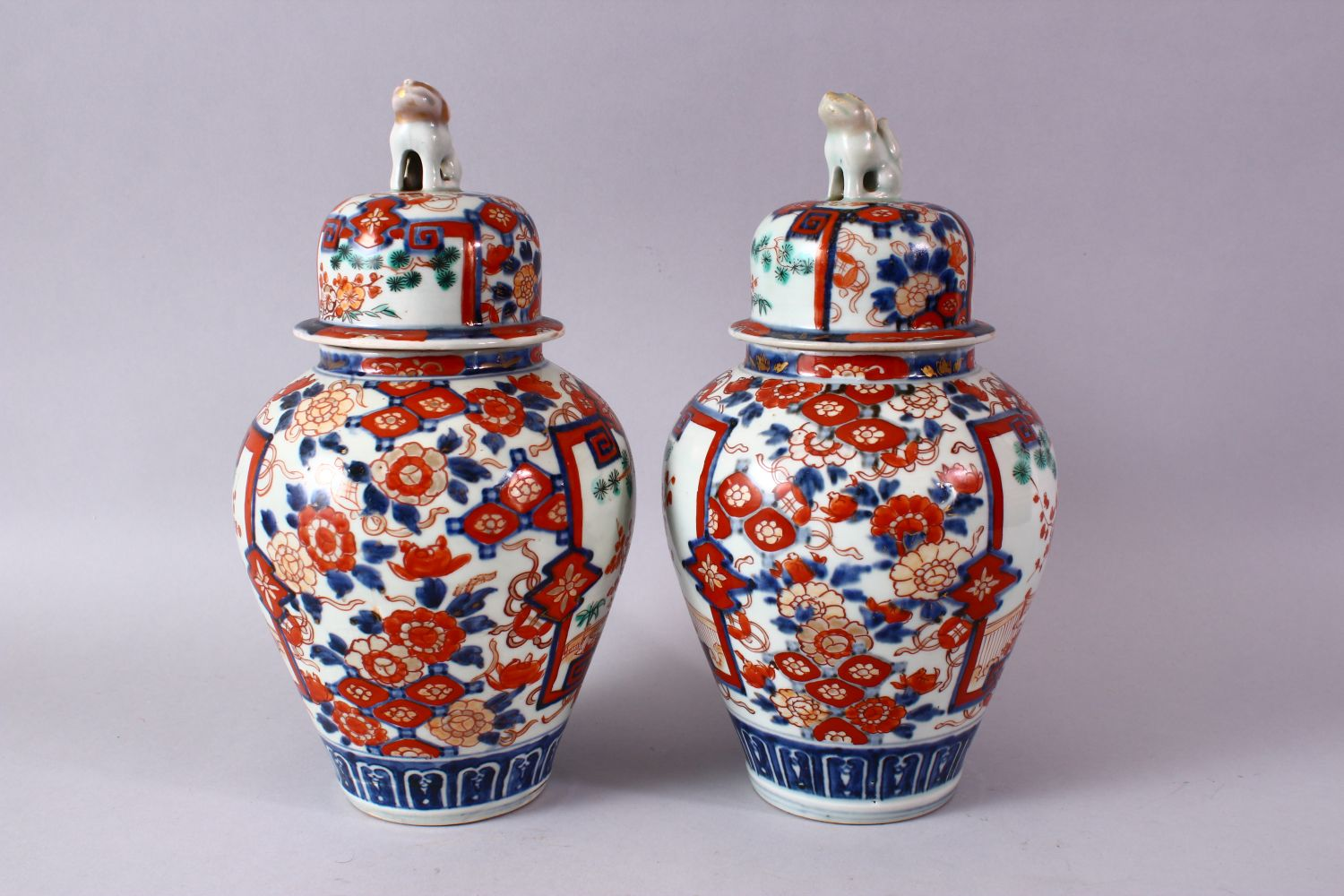 A PAIR OF MEIJI PERIOD IMARI VASES AND COVERS, with kylin finials, overall 30cm high. - Image 7 of 10