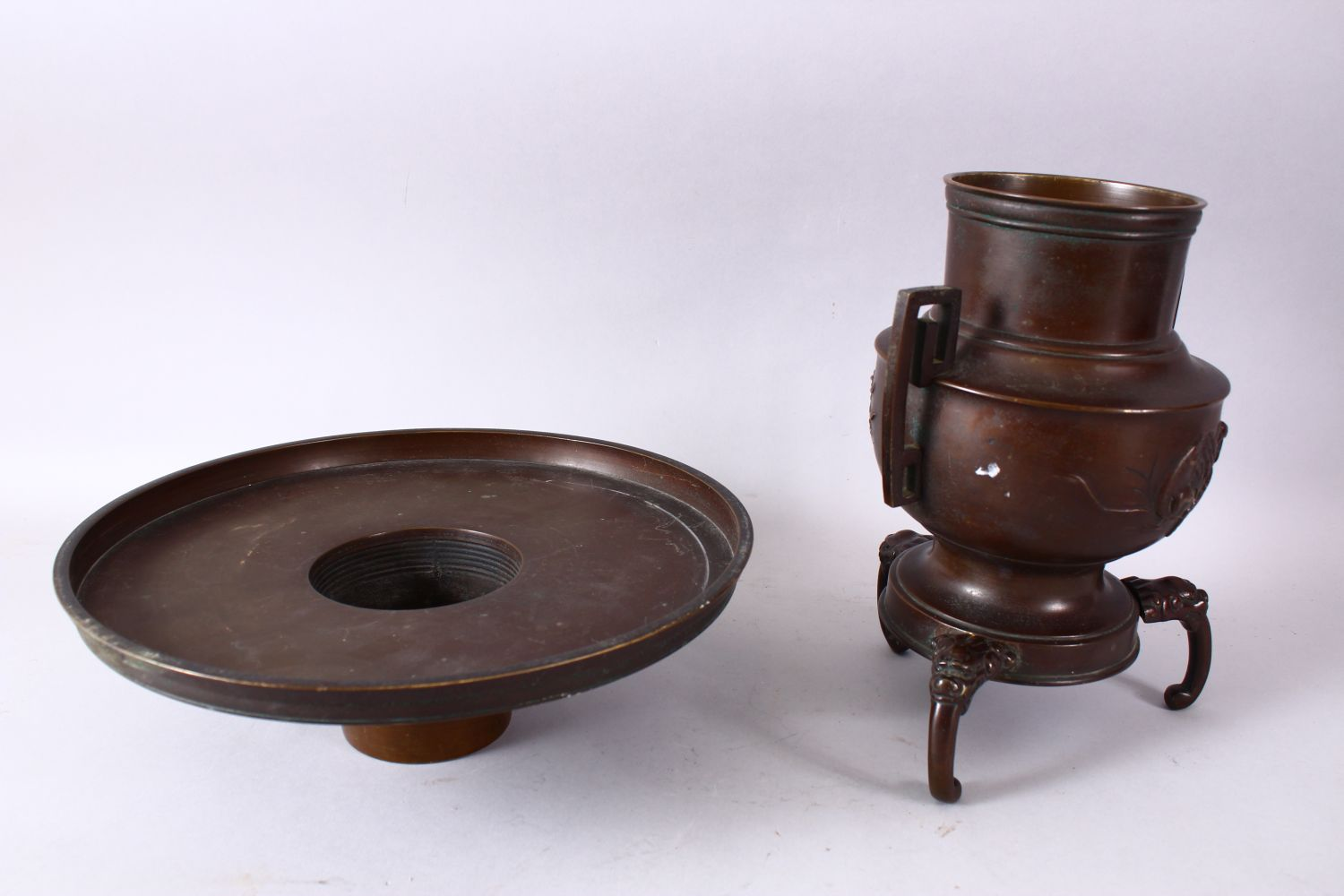 A 19TH CENTURY JAPANESE BRONZE TWO HANDLED VASE on three curving legs, with large circular top - Image 6 of 6