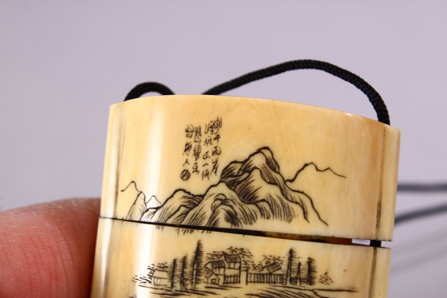 A JAPANESE MEIJI PERIOD CARVED IVORY THREE CASE INRO & NETSUKE, The inro carved with native - Image 7 of 7