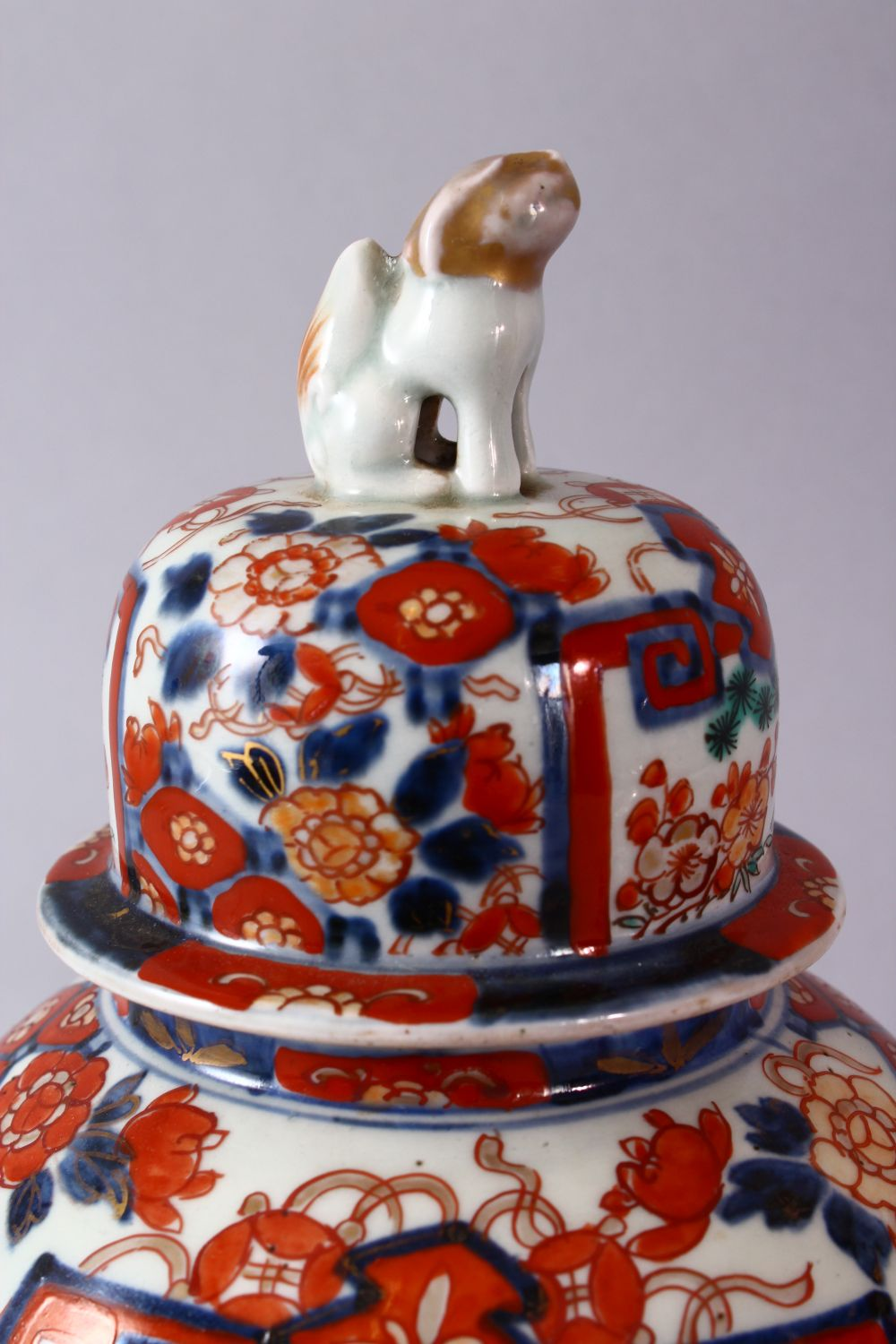 A PAIR OF MEIJI PERIOD IMARI VASES AND COVERS, with kylin finials, overall 30cm high. - Image 3 of 10