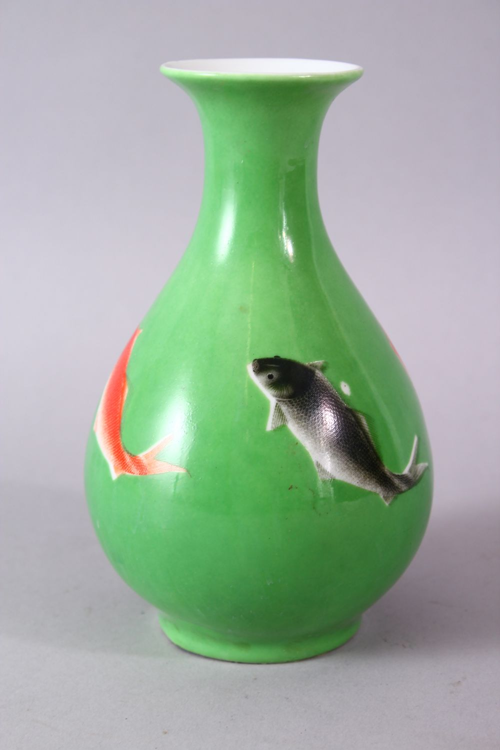 A CHINESE GREEN GLAZED VASE, painted with fish, mark in red, 15cm high. - Image 4 of 8