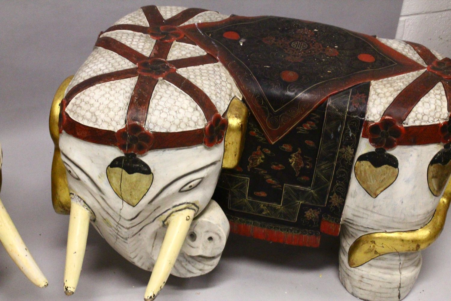 A PAIR OF LARGE 19TH CENTURY CHINESE HARDWOOD DECORATED ELEPHANT FORMED SEATS, The mirrored pair - Image 5 of 9