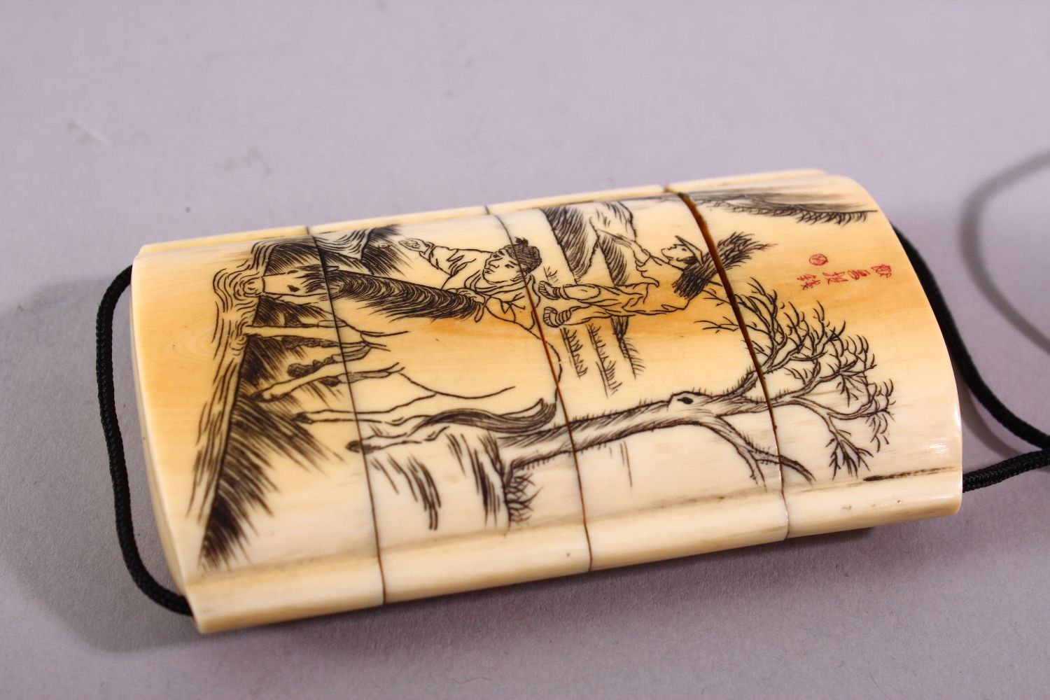A JAPANESE MEIJI PERIOD CARVED IVORY THREE CASE INRO & NETSUKE, The inro carved with native - Image 5 of 7