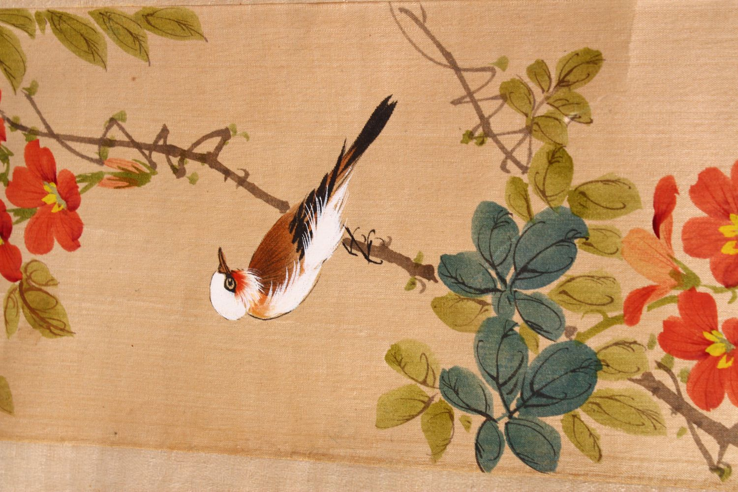 FOUR SMALL CHINESE SCROLL PAINTINGS, depicting birds on branches (AF), largest image 95cm x 29cm. - Image 7 of 12