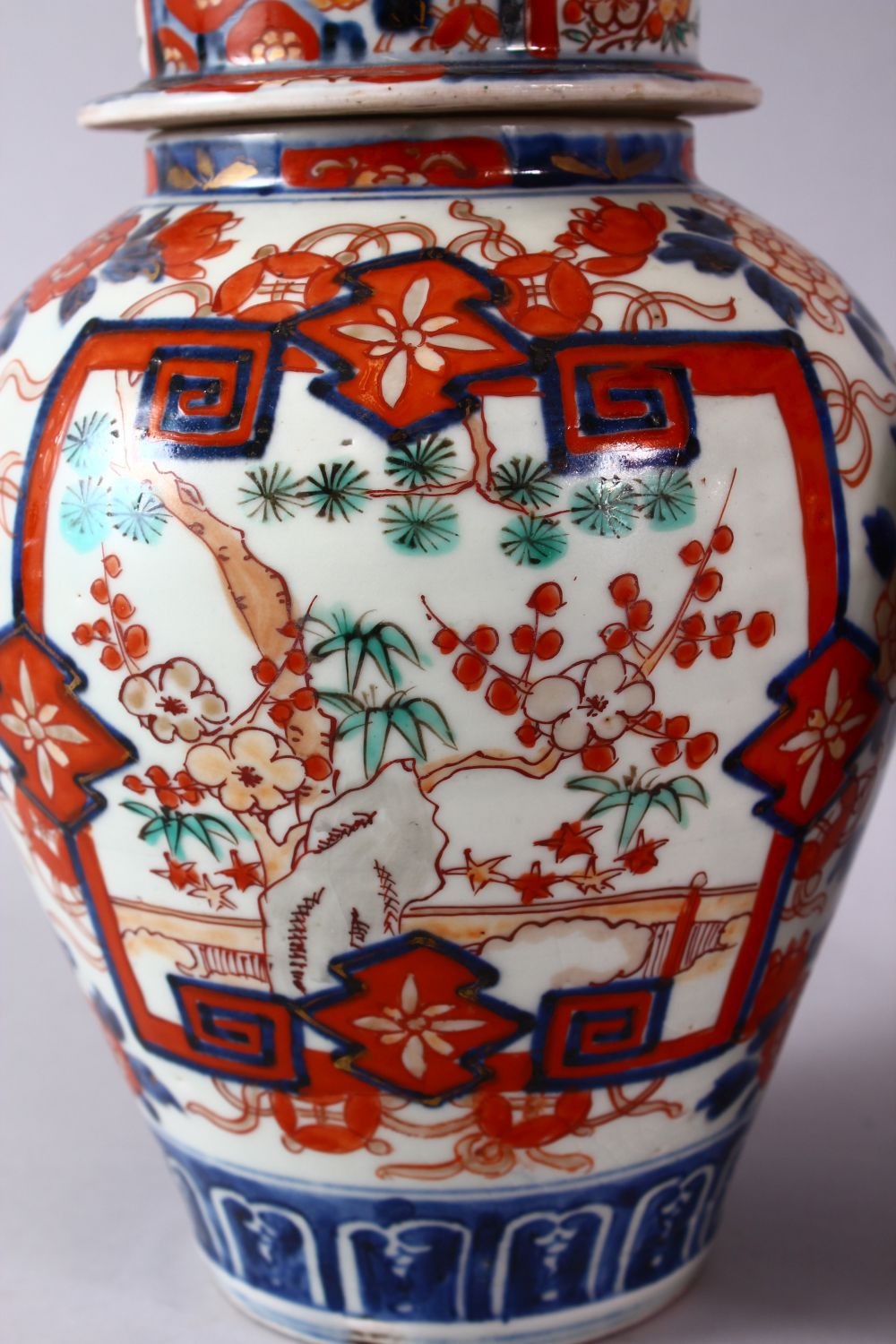 A PAIR OF MEIJI PERIOD IMARI VASES AND COVERS, with kylin finials, overall 30cm high. - Image 2 of 10