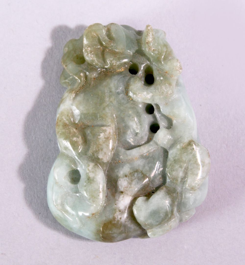 A CHINESE CARVED AND PIERCED JADE / JADITE AMULET of a guord, 5cm x 4cm.