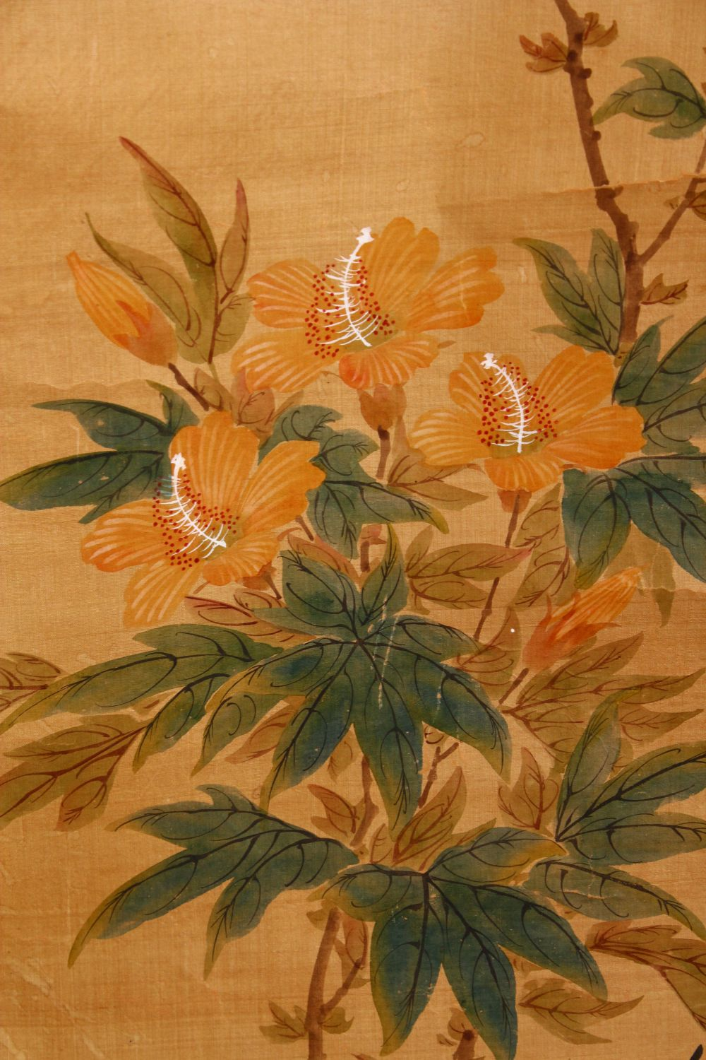 FOUR SMALL CHINESE SCROLL PAINTINGS, depicting birds on branches (AF), largest image 95cm x 29cm. - Image 3 of 12