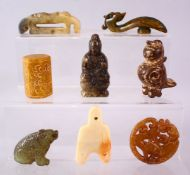 A MIXED LOT OF EIGHT CARVED CHINESE JADE ITEMS, consisting of: A carved jade chilong belt hook, 9cm,