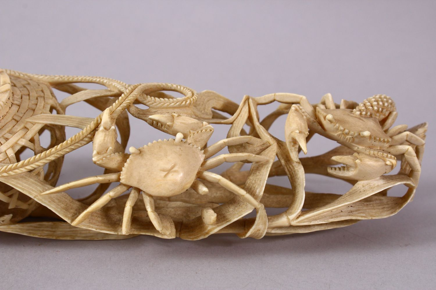 A JAPANESE MEIJI PERIOD CARVED IVORY CRAB GROUP OKIMONO - depicting a basket of crabs with three - Image 5 of 11