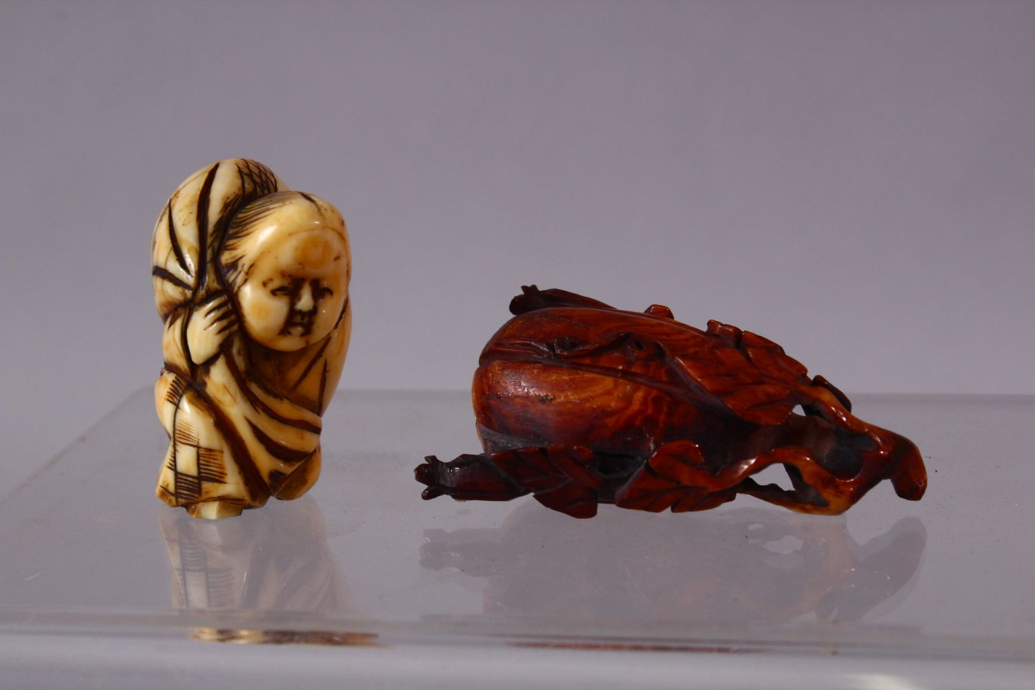 A LOT OF SIX JAPANESE MEIJI PERIOD CARVED IVORY NETSUKE, one of a seated and inlaid goddess, 6cm, - Image 2 of 8