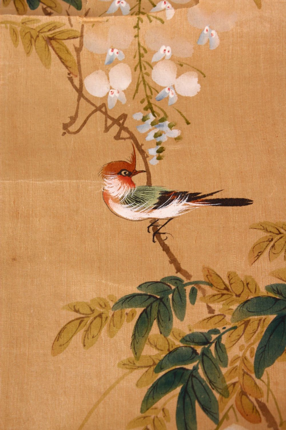 FOUR SMALL CHINESE SCROLL PAINTINGS, depicting birds on branches (AF), largest image 95cm x 29cm. - Image 11 of 12
